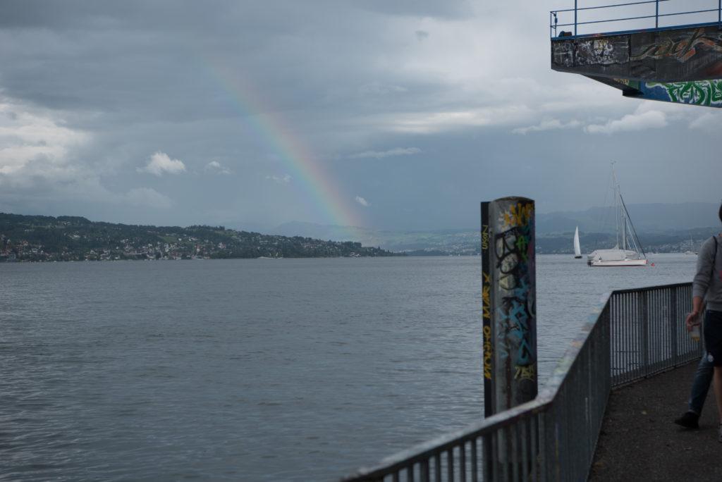 Europa, Lake Zurich, Schweiz, Wollishofen, Zürichsee, Zürisee, _THEMES, cloud cover, clouds, natur, nature, rainbow, regenbogen, wolken, wolkendecke
